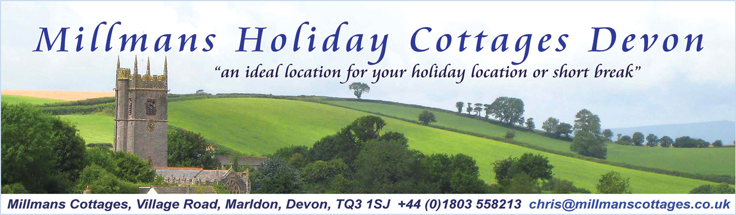 Millmans Holiday Cottages Devon, Village Road, Marldon, Devon, TQ3 1SJ +44 (0)1803 558213 tina@millmanscottages.co.uk